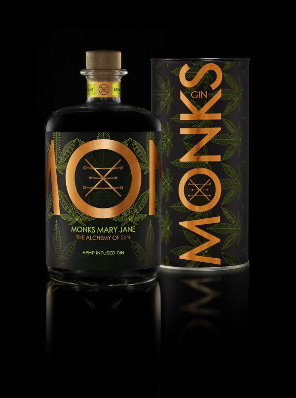 Bouteille de Gin Monks parfum Mary jane avec son packaging