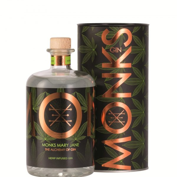 Bouteille de Gin Monks parfum Mary jane avec son packaging