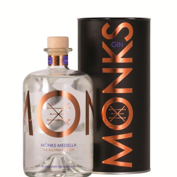 Bouteille de Gin Monks parfum Medella avec son packaging