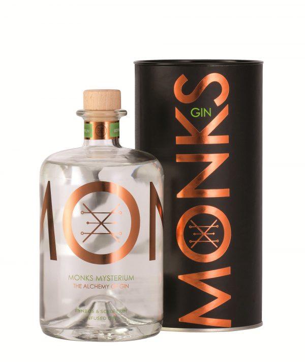 Bouteille de Gin Monks parfum Mysterium avec son packaging
